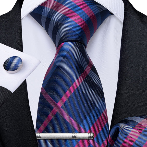 Blue Pink Plaid Men's Tie Handkerchief Cufflinks Clip Set