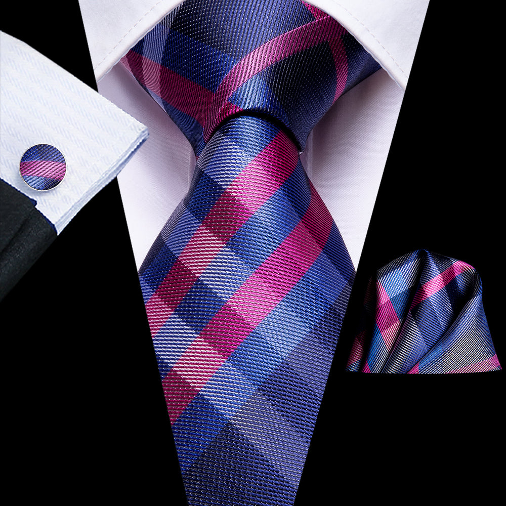 Pink Blue Plaid Tie Pocket Square Cufflinks Set