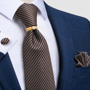 Brown Plaid 4PCS Silk Men's Tie Pocket Square Cufflinks with Tie Ring Set