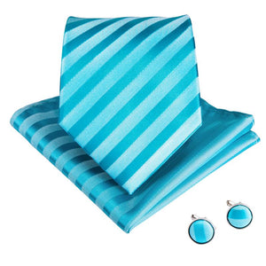 Bluish Green Striped Men's Tie Pocket Square Cufflinks Set