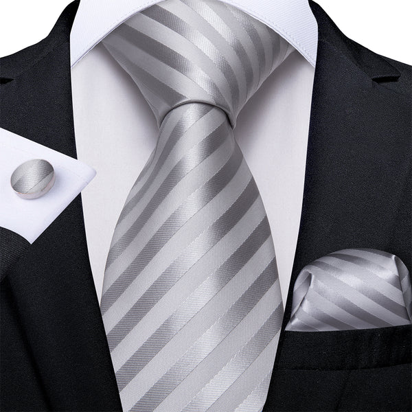 Grey White Striped Men's Tie Pocket Square Cufflinks Set