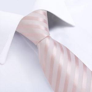 Pink White Striped Men's Tie Pocket Square Cufflinks Set