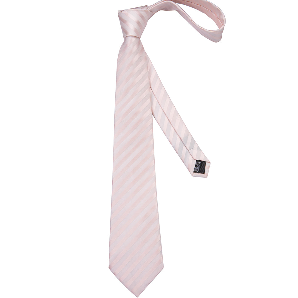 Load image into Gallery viewer, Pink White Striped Men's Tie Pocket Square Cufflinks Set