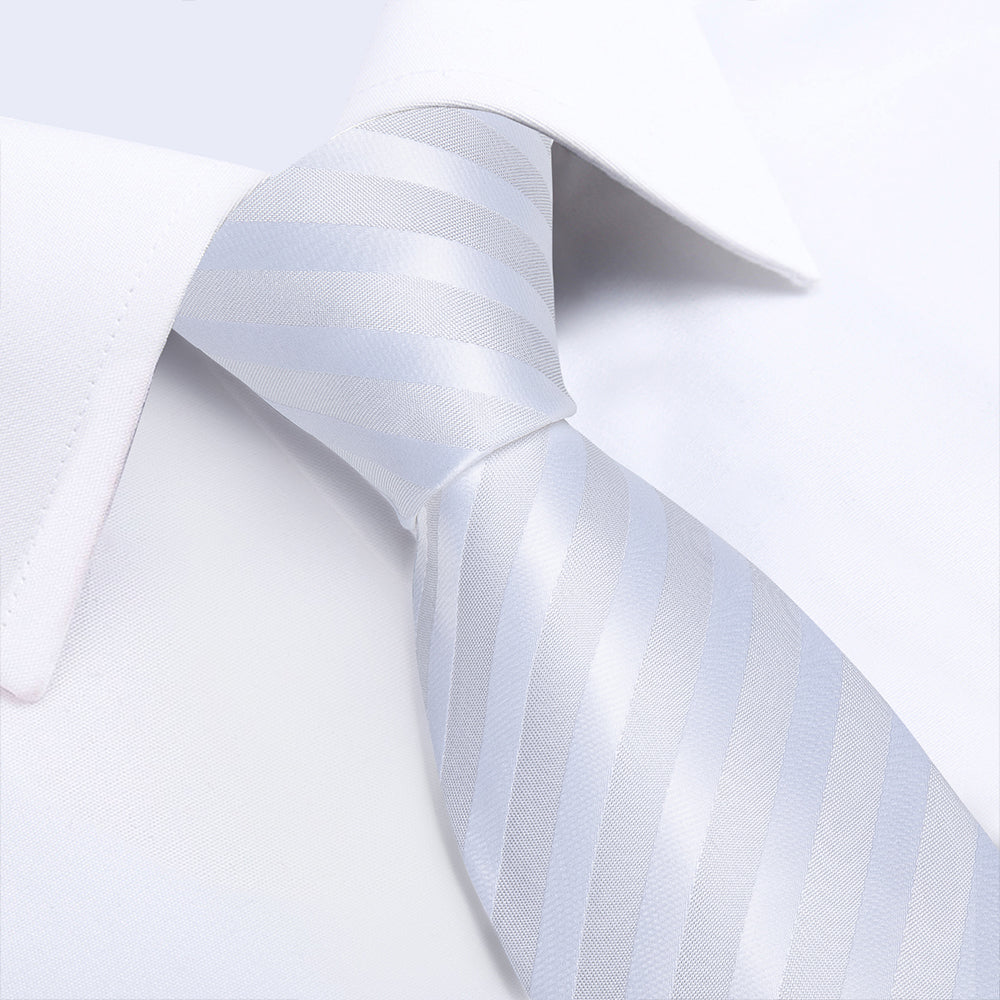 Beautiful White Striped Tie Pocket Square Cufflinks Set