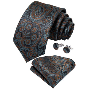 Load image into Gallery viewer, Novelty Blue Yellow Floral Tie Handkerchief Cufflinks Set (1813778464810)