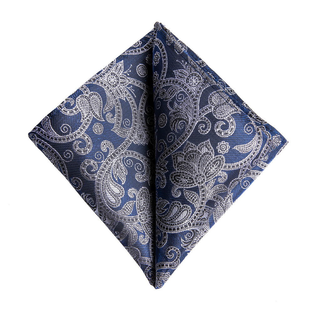 Novelty Blue Grey floral Tie Handkerchief Cufflinks Set