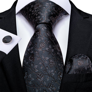 Beautiful Grey Floral Tie Set