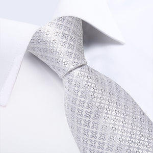 Load image into Gallery viewer, White Grey  Geometric Figure Tie Handkerchief Cufflinks Set