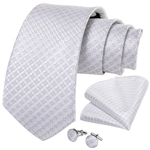White Grey  Geometric Figure Tie Handkerchief Cufflinks Set