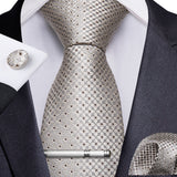 Grey Yellow Novelty Men's Tie Handkerchief Cufflinks Clip Set