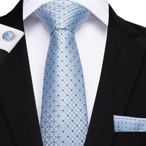 Load image into Gallery viewer, Blue Brown Plaid Men's Tie Pocket Square Cufflinks Set