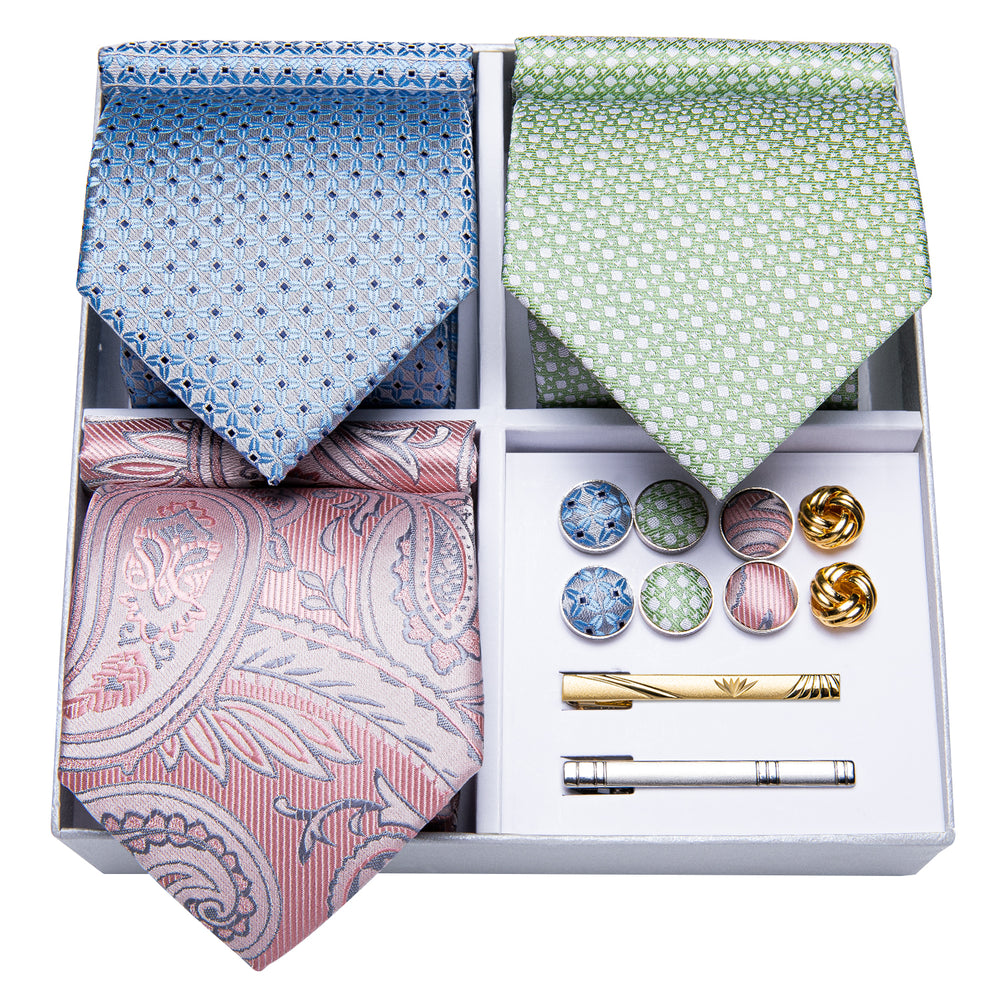 Load image into Gallery viewer, 3PCS Gift Necktie Set Pink/Green/Blue Silk Tie Handkerchief Gold Tie Clip Cufflinks Set,Mens Tie Collection (4732182233169)