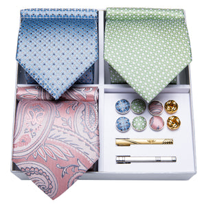 3PCS Gift Necktie Set Pink/Green/Blue Silk Tie Handkerchief Gold Tie Clip Cufflinks Set,Mens Tie Collection (4732182233169)