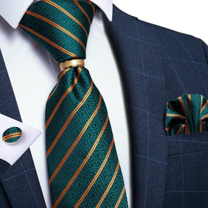 4PCS Green Yellow Striped Men's Tie Pocket Square Cufflinks with Tie Ring Set (4527286026321)
