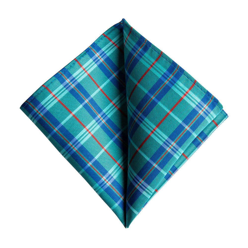 Men's Green Blue Plaid Tie Set