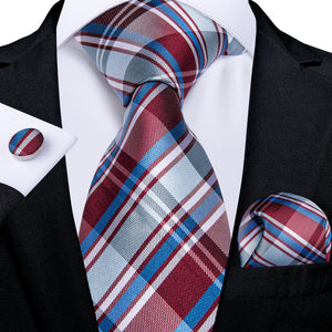 Load image into Gallery viewer, Brown Blue Plaid Men's Tie Pocket Square Cufflinks Set