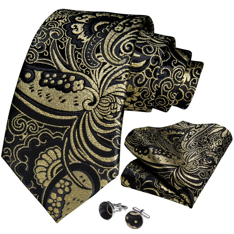 Attractive  Men's Black Yellow floral Tie Set
