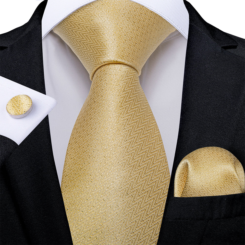 Beautiful Men's Golden Tie Pocket Square Cufflinks Set