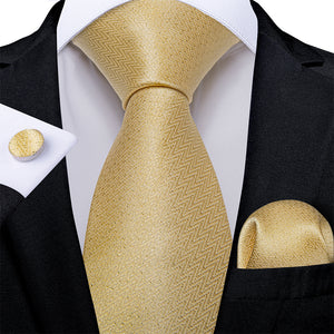 Load image into Gallery viewer, Beautiful Men's Golden Tie Pocket Square Cufflinks Set
