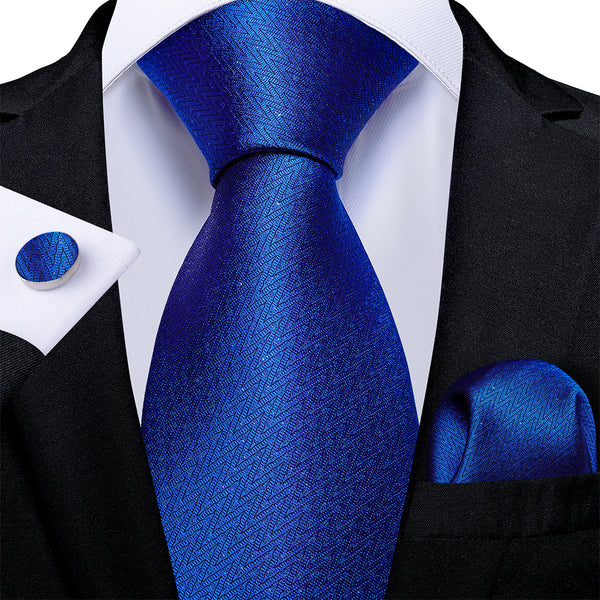 Attractive Men's Blue Tie Handkerchief Cufflinks Set