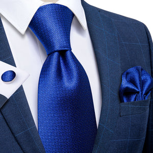 Blue Plaid Men's Tie Handkerchief Cufflinks Clip Set