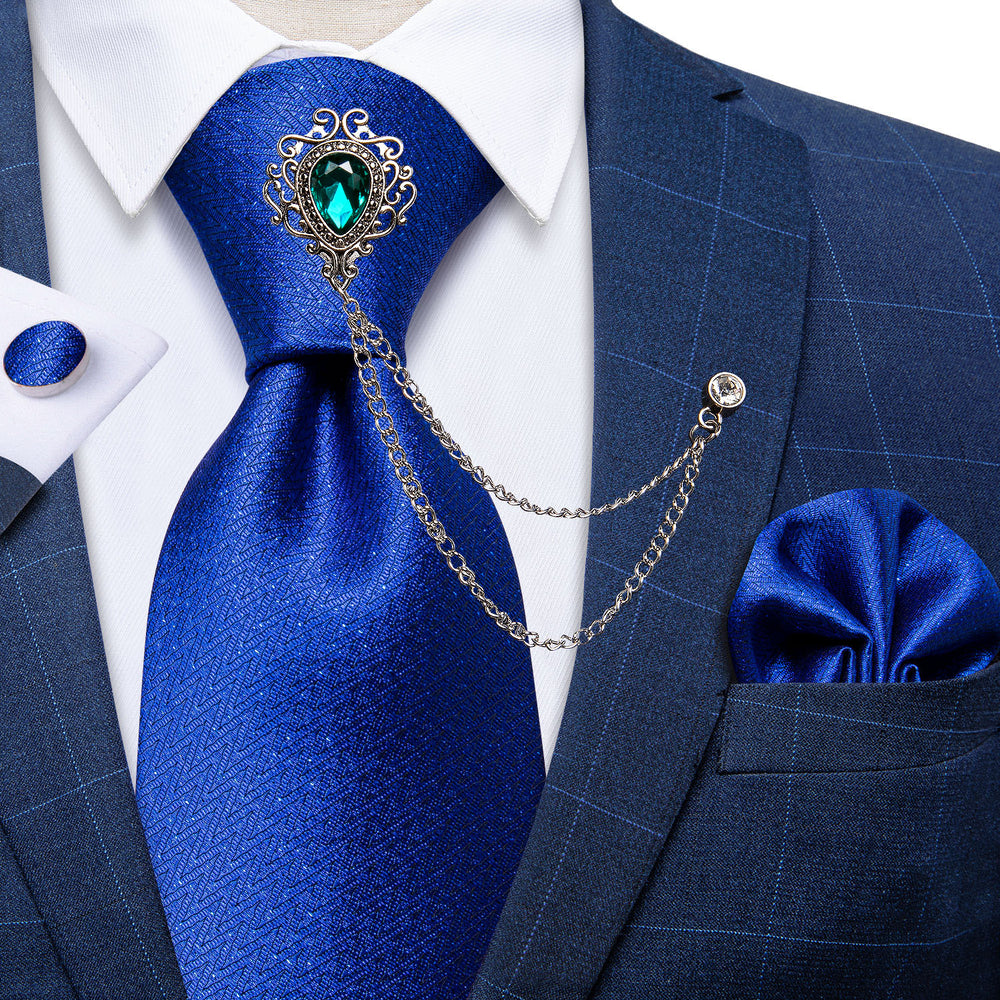 Novelty Blue Silk Men's Necktie Handkerchief Cufflinks Set With GEM Lapel Pin Brooch Set