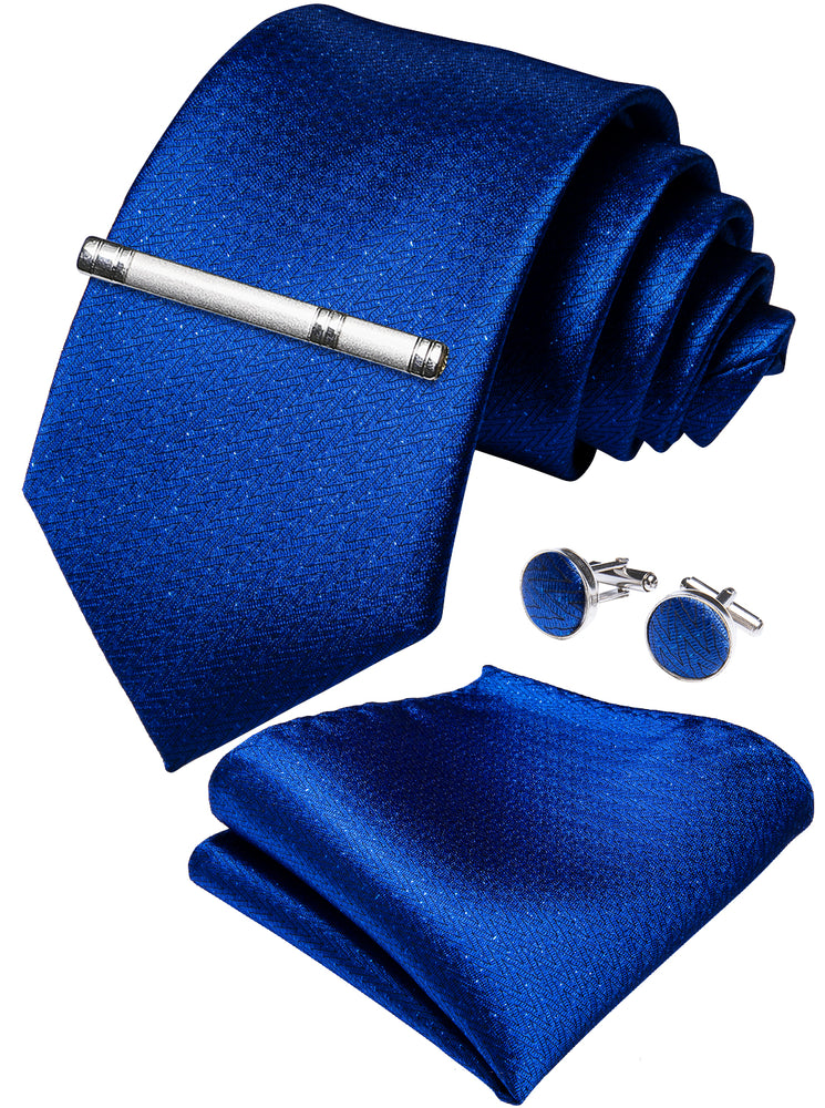 Load image into Gallery viewer, Blue Plaid Men's Tie Handkerchief Cufflinks Clip Set