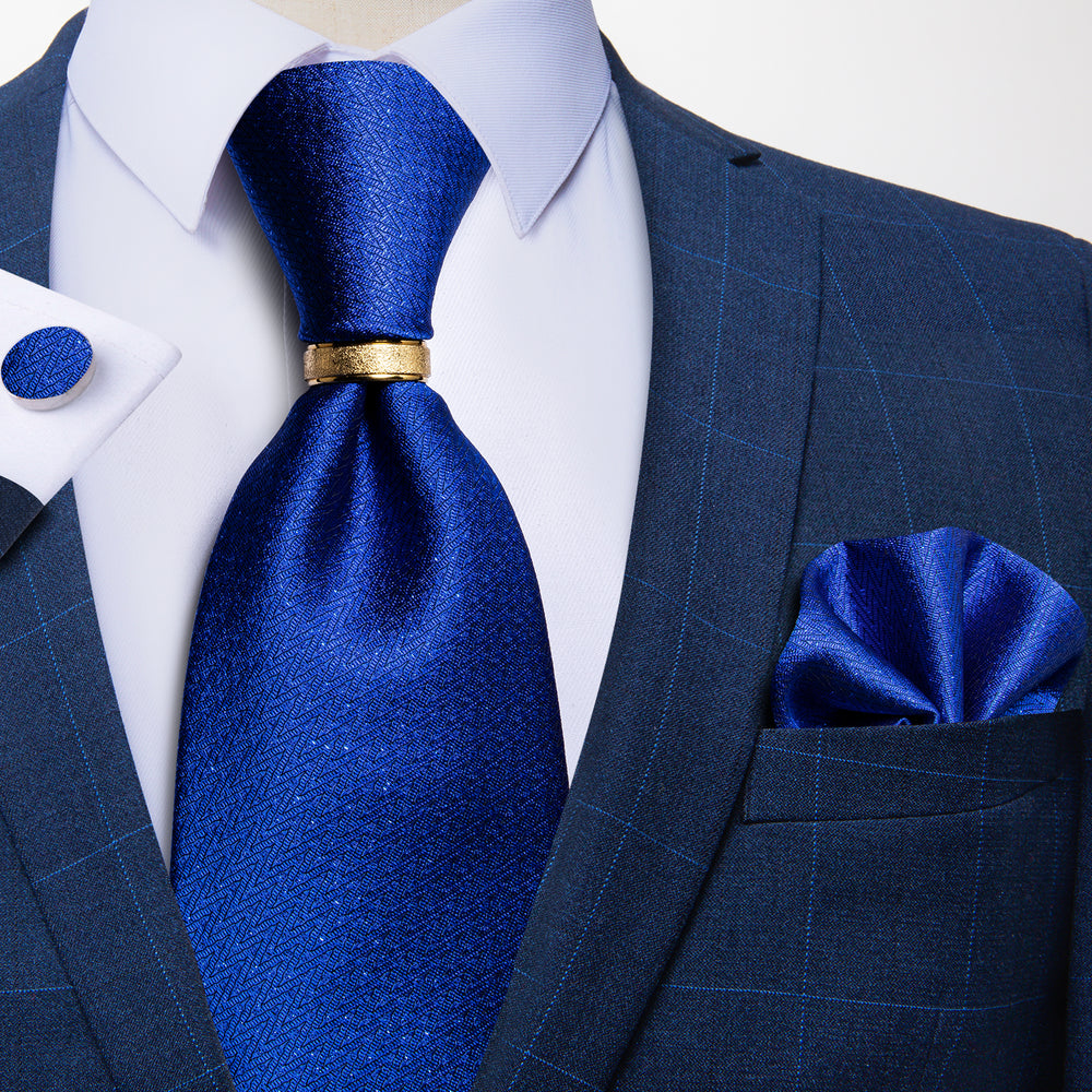 4PCS Novelty Blue Silk Men's Tie Pocket Square Cufflinks With Tie Ring Set