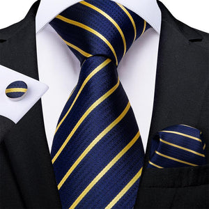 Load image into Gallery viewer, Blue Golden Striped Tie Handkerchief Cufflinks Set