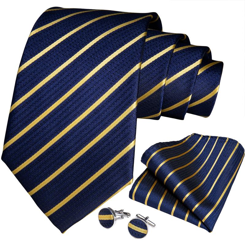 Blue Yellow Striped Men's Tie Ring Handkerchief Cufflinks Set