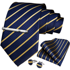 Blue Yellow Striped Men's Tie Handkerchief Cufflinks Clip Set