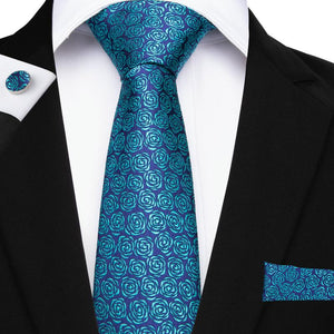 Load image into Gallery viewer, Blue Cyan Floral Men's Tie Pocket Square Cufflinks Set