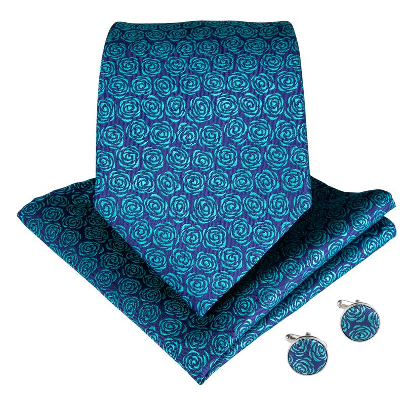 Blue Cyan Floral Men's Tie Pocket Square Cufflinks Set