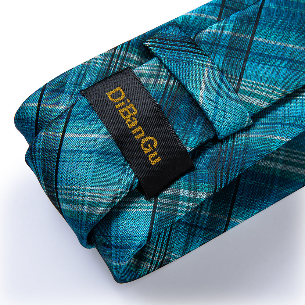 Load image into Gallery viewer, Teal Plaid Men's Tie Handkerchief Cufflinks Clip Set (4690585583697)
