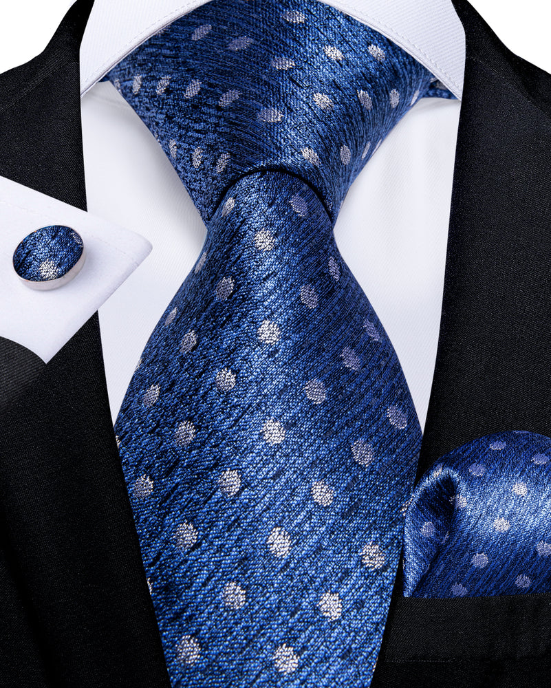 Load image into Gallery viewer, Blue White Polka Dot  Men's Tie Handkerchief Cufflinks Set (1931653906474)