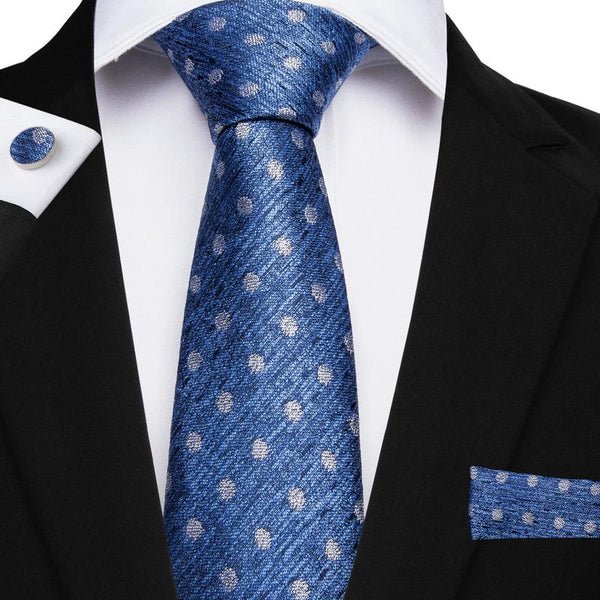 Blue White Polka Dot  Men's Tie Handkerchief Cufflinks Set