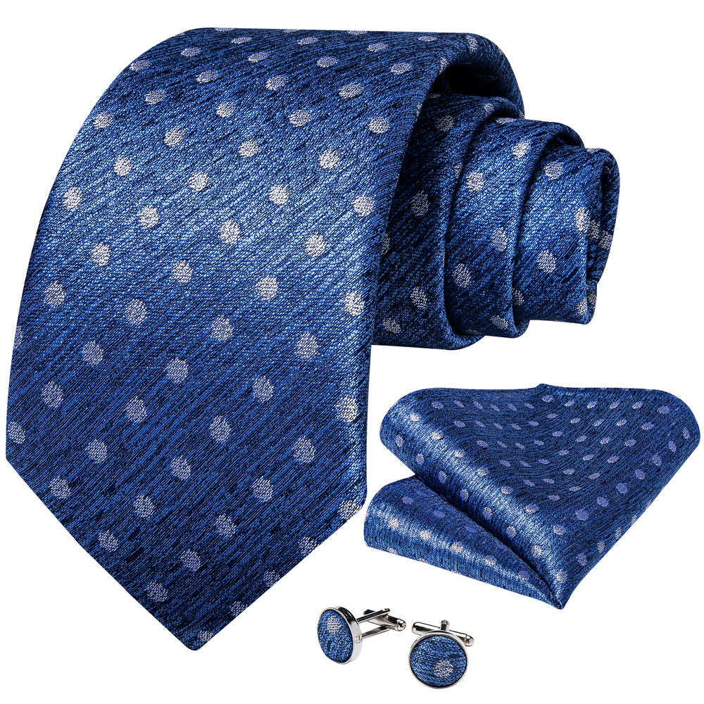 Blue White Polka Dot  Men's Tie Handkerchief Cufflinks Set (1931653906474)