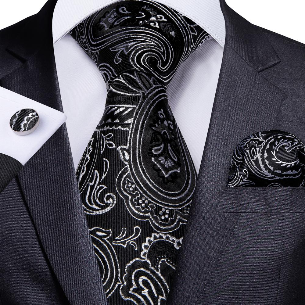 Load image into Gallery viewer, Black White Floral Tie Pocket Square Cufflinks Set (4602427310161)