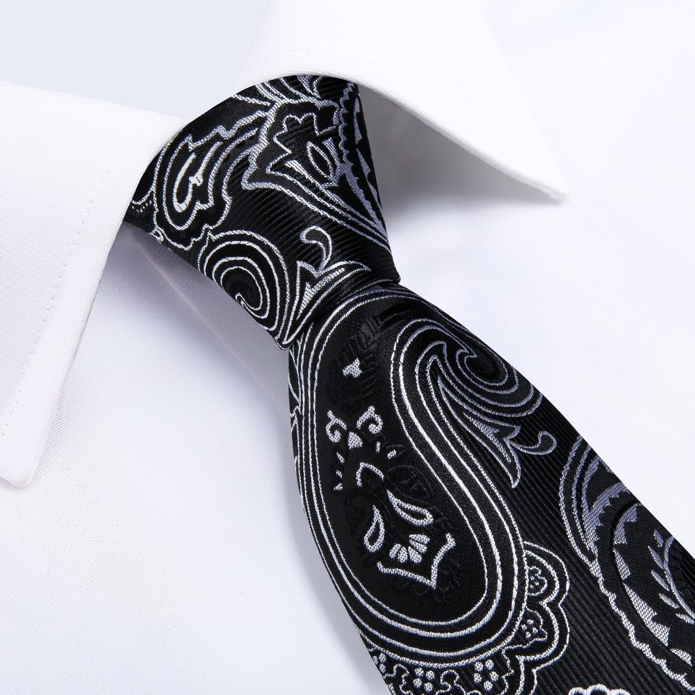 Black White Floral Tie Pocket Square Cufflinks Set (4602427310161)