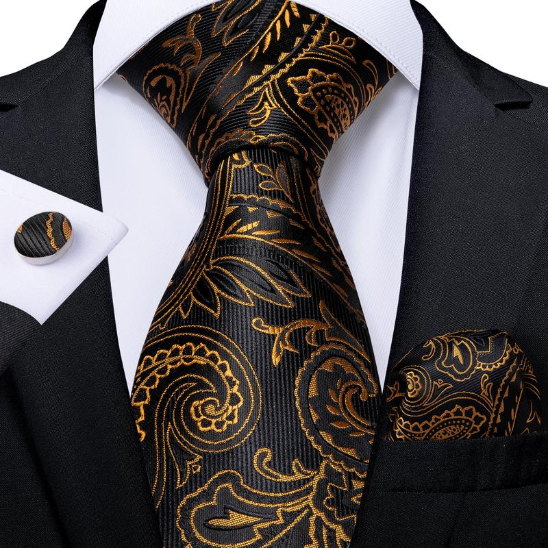 Beautiful Black Golden Paisley Tie Pocket Square Cufflinks Set