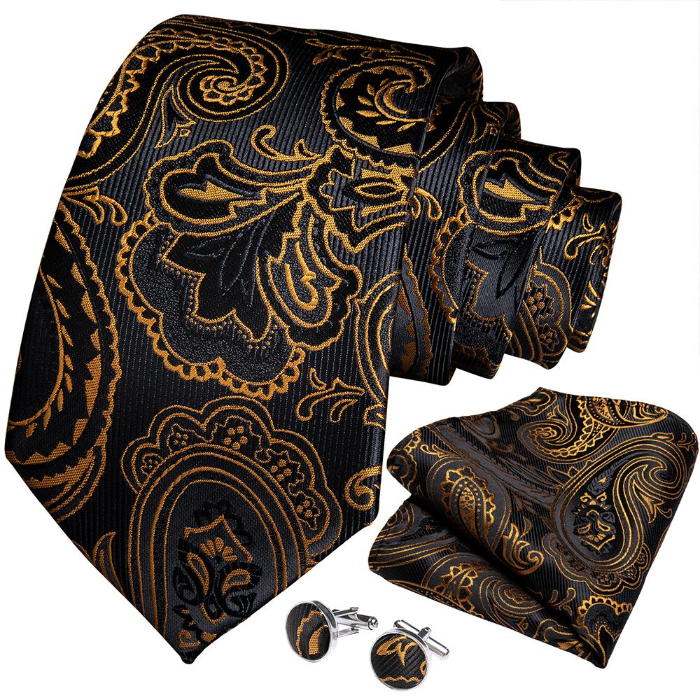 Black Golden Paisley Silk Men's Necktie Handkerchief Cufflinks Set With Lapel Pin Brooch Set