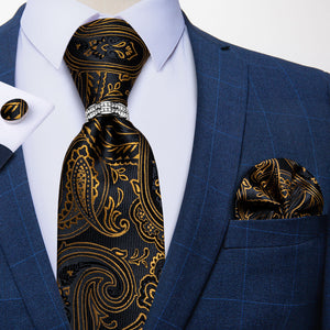 Black Golden Paisley Men's Tie Handkerchief Cufflinks Set with Tie Tack