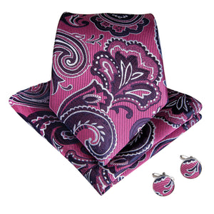 Load image into Gallery viewer, Purple Red Paisley Tie Pocket Square Cufflinks Set (1826821996586)
