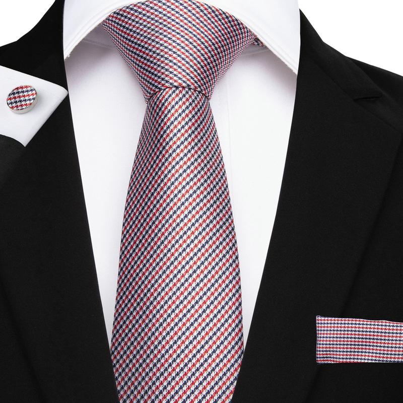 Load image into Gallery viewer, Red Blue Striped Men's Tie Handkerchief Cufflinks Set