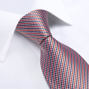 Red Blue Striped Men's Tie Handkerchief Cufflinks Set