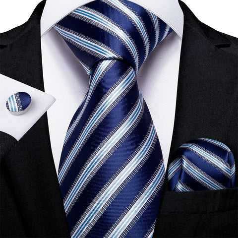Blue Striped Men's Tie Handkerchief Cufflinks Set