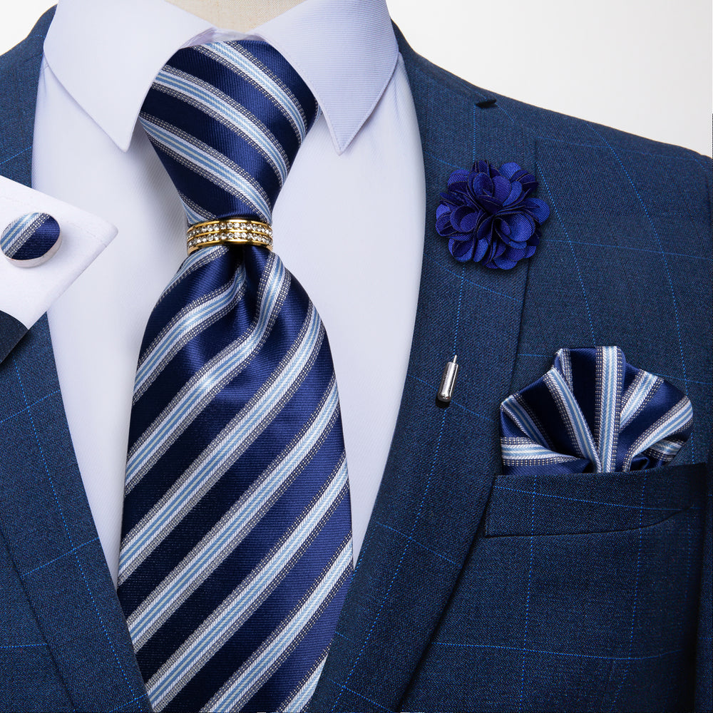 5PCS Blue Striped Tie Pocket Square Cufflinks with Tie Ring Lapel Pin Set