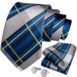 Blue Grey Plaid Men's Tie Handkerchief Cufflinks Set