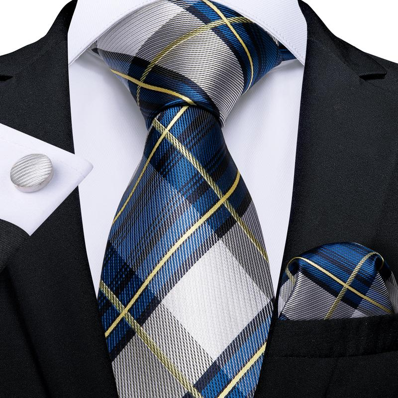 Load image into Gallery viewer, Blue Grey Plaid Men's Tie Handkerchief Cufflinks Set