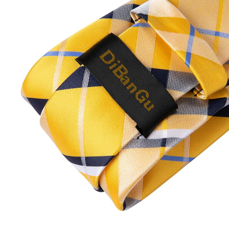 Yellow Blue Plaid Men's Tie Handkerchief Cufflinks Set